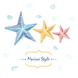 Decorative sea card with starfishes in different colors.  Stock Photo