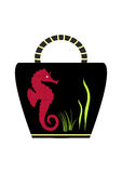 Decorative sea horse on the bag  illustration Royalty Free Stock Images