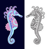 Decorative sea horse in Zentagle style. Royalty Free Stock Images