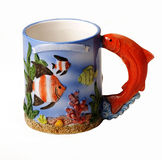 Decorative sea themed cup Royalty Free Stock Images