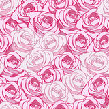 Decorative seamless background with bright pink roses and light Stock Photography