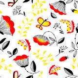 Decorative seamless background with flowers, bugs and butterly. Vector summer decorative seamless background with flowers, bugs and butterfly in cartoon style Royalty Free Stock Photos