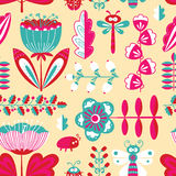 Decorative seamless background with flowers, bugs and dragonfly Stock Photography