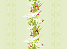 Decorative seamless background with spring flowers and butterflies Stock Photo