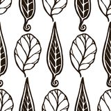 Decorative seamless black and white pattern with leaves. Endless stylish texture. Template for design textile, backgrounds, wrappe Royalty Free Stock Images