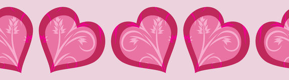 Decorative seamless border with bright pink hearts to the Valentines day Royalty Free Stock Photo