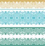 Set of laced  seamless border patterns wth decorative stars Stock Image