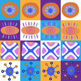 Decorative seamless ethnic pattern in cells Stock Photos