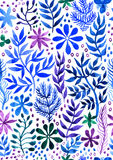 Decorative seamless floral abstract background  watercolor. With white background. Watercolor texture. Original floral elements. Elements for your design Royalty Free Stock Photo