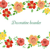 Decorative seamless floral boarder with cute flowers Stock Photography