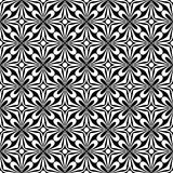 Decorative Seamless Floral diagonal Geometric Black & White Pattern Background. Complicated, material. stock illustration