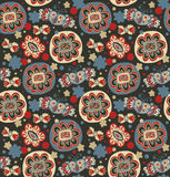 Decorative seamless floral pattern. Doodle background with flowers, hearts and butterflies. Colorful abstract texture for clothes, package, crafts Royalty Free Stock Photography