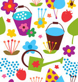 Decorative seamless garden pattern. Summer colorful background Stock Image