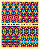 Decorative seamless geometrical patterns of different shapes in blue, magenta, black and yellow shades Royalty Free Stock Photos