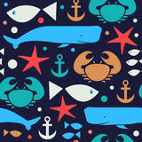Decorative seamless marine pattern. Cute background with crab, fiddler crab, fish, cachalot, sperm-whale , whale, anchor. Stock Images