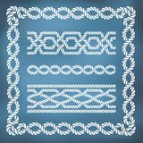 Decorative seamless nautical rope borders Royalty Free Stock Image