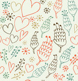 Decorative seamless patten with flowers and hearts. Endless cute background for prints, textile, scrapbooking Stock Photography