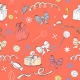 Decorative seamless pattern. With gifts and sweets Stock Image