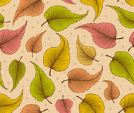 Decorative Seamless Pattern with Autumn Leaves Stock Photo