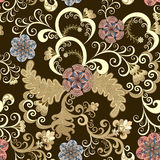 Decorative seamless pattern with beige swirls Stock Photos