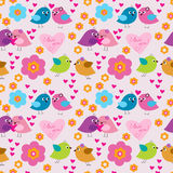 Decorative seamless pattern with birds in love Stock Photos