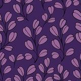Decorative seamless pattern with branches on a purple background. Decorative seamless background with branches. Pattern for design Royalty Free Stock Photo