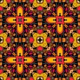 Decorative Seamless Pattern. Bright Ethnic Ornament. Multicolor Geometric Flowers. Tribal Vector Illustration.