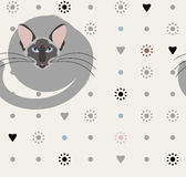 Decorative seamless pattern with cat, flowers, hearts  Royalty Free Stock Photos