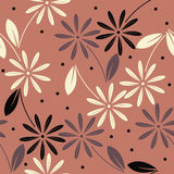 Decorative seamless pattern with colorful  flowers on red backgr Stock Photography