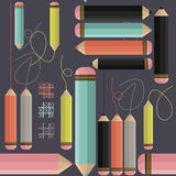 Decorative seamless pattern with colorful pencils and lines on p Stock Image