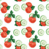 Decorative seamless pattern of cucumber and tomato Stock Images