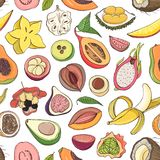Decorative seamless pattern with cut or split fresh juicy exotic tropical fruits on white background. Hand drawn. Realistic vector illustration for fabric print Stock Photo