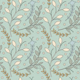 Decorative seamless pattern with different flowers and leaves on Stock Image