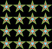 Decorative seamless pattern with a five-pointed stars. Digital computer graphic - decorative seamless pattern with a five-pointed stars on a black background Stock Photo