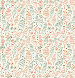 Decorative seamless pattern with flowers and hearts  Endless beauty background for prints, textile, scrapbooking Royalty Free Stock Images