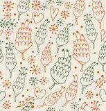 Decorative seamless pattern with flowers and hearts. Endless ornate background Royalty Free Stock Photography