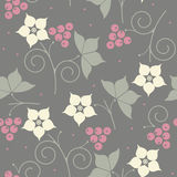 Decorative seamless pattern with flowers, leaves and berries Royalty Free Stock Images