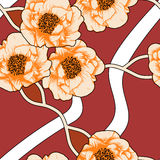 Decorative seamless pattern with flowers of peony. Royalty Free Stock Images