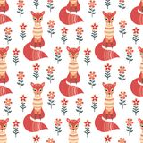 Seamless pattern in folk style with fox. Decorative seamless pattern in folk style with fox. Colorful vector background Stock Image