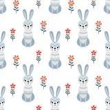 Seamless pattern in folk style with rabbit. Decorative seamless pattern in folk style with rabbit. Colorful vector background Stock Photos