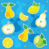 Decorative seamless pattern, fruit, apple, pear, lemon. Royalty Free Stock Image