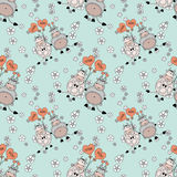 Decorative seamless pattern with funny animals, bright spring or summer fabric to stitch the design Stock Image