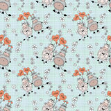 Decorative seamless pattern with funny  animals, , for children Royalty Free Stock Images
