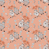 Decorative seamless pattern with funny animals,  design  for children Stock Photos