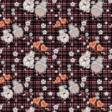 Decorative seamless pattern with funny animals,  stitch the design, for children Royalty Free Stock Photo