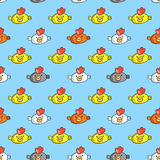 Decorative seamless pattern with funny cocks Stock Image
