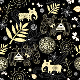Decorative seamless pattern with gold leaf stock illustration