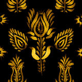 Decorative seamless pattern, golden flowers royalty free illustration