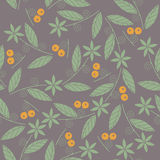 Decorative seamless pattern with green flowers, leaves and orang. E berries can be used for linen, tile design fabric, textile and more creative designs Stock Images
