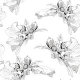 Decorative seamless pattern with ink hand-drawn Tropical hibiscus flowers and leaves. Vector illustration. Black white pattern Royalty Free Stock Photography